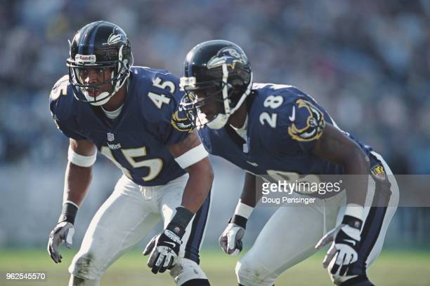 Corey Harris Defensive Back for the Baltimore Ravens with team mate Chris McAlister #28 during the American Football Conference Central game against...