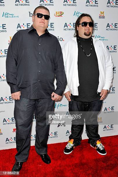 Corey Harrison and Chumlee attend the 2011 AE Television Networks Upfront Presentation at the IAC Building on May 4 2011 in New York City