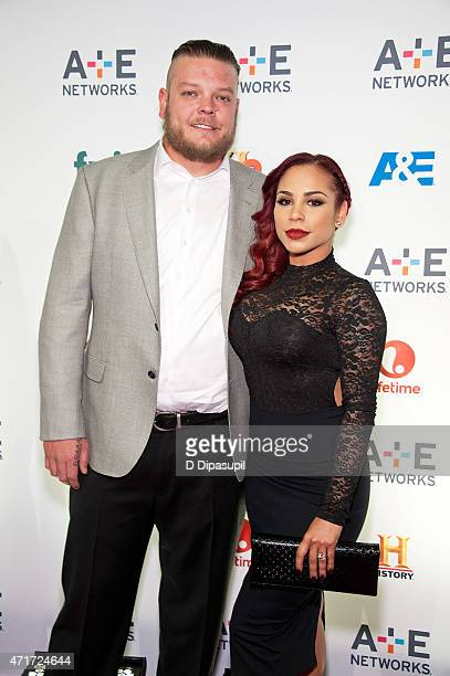 Corey Harrison and guest attend AE Network's 2015 Upfront at Park Avenue Armory on April 30 2015 in New York City