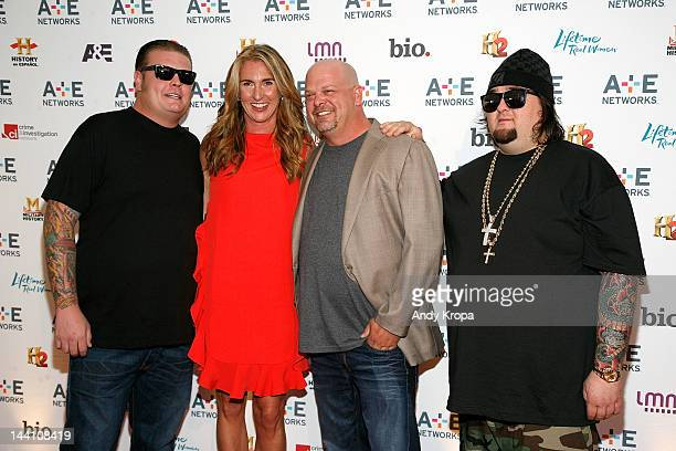 """Corey Harrison, President and General Manager, History and Lifetime Networks Nancy Dubuc, Rick Harrison and Austin """"Chumlee"""" Russell attend the A+E..."""