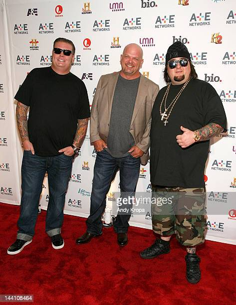 """Corey Harrison, Rick Harrison and Austin """"Chumlee"""" Russell attend the A+E Networks 2012 Upfront at Lincoln Center on May 9, 2012 in New York City."""