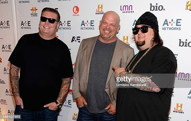 Corey Harrison Rick Harrison and Austin Chumlee Russell of Pawn Stars attend the AE Networks 2012 Upfront at Lincoln Center on May 9 2012 in New York...