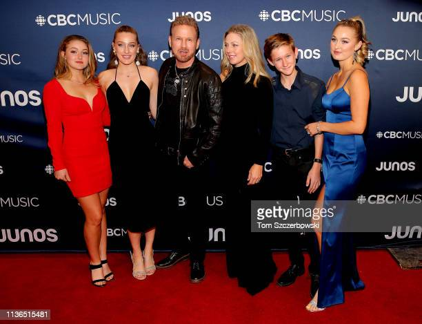 Corey Hart and guests attend the 2019 Juno Awards Arrivals at Budweiser Gardens on March 17 2019 in London Canada