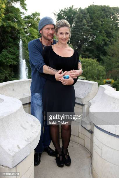 Corey Hart and his wife Julie Masse attend Canada's Walk Of Fame Presents Music Under The City Stars at Casa Loma on August 2 2017 in Toronto Canada