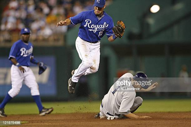 Corey Hart of the Brewers steals 2nd base as Mark Grudzielanek catches the throw during action between the Milwaukee Brewers and Kansas City Royals...