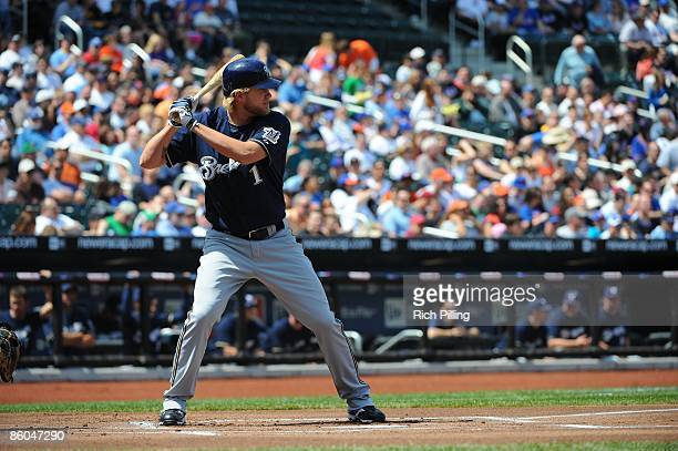 Corey Hart of the Milwaukee Brewers bats during the game against the New York Mets at Citi Field in Flushing New York on Saturday April 18 2009 The...