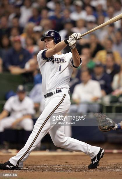 Corey Hart of the Milwaukee Brewers swings at the pitch against the Chicago Cubs at Miller Park on June 4 2007 in Milwaukee Wisconsin