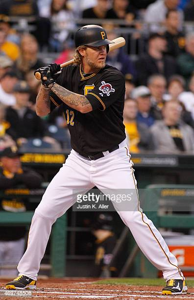 Corey Hart of the Pittsburgh Pirates bats during interleague play against the Detroit Tigers at PNC Park on April 14 2015 in Pittsburgh Pennsylvania