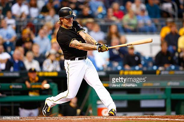 Corey Hart of the Pittsburgh Pirates in action against the Minnesota Twins during the game at PNC Park on May 19 2015 in Pittsburgh Pennsylvania