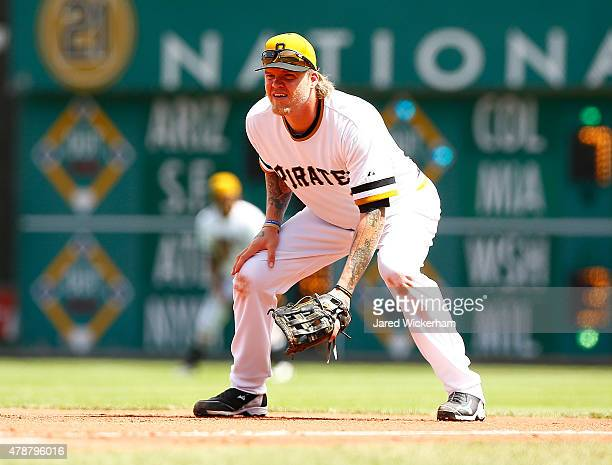 Corey Hart of the Pittsburgh Pirates in action against the Philadelphia Phillies during the game at PNC Park on June 14 2015 in Pittsburgh...