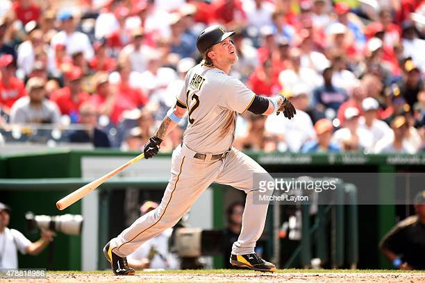 Corey Hart of the Pittsburgh Pirates takes a swing during a baseball game against the Washington Nationals at Nationals Park on June 21 2015 in...