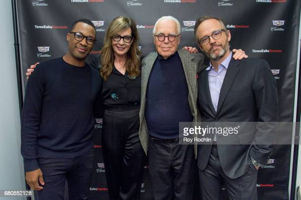 Corey Hawkins Allison Janney John Guare and John Benjamin discuss Six Degrees Of Separation with TimesTalks at Cadillac House on May 8 2017 in New...