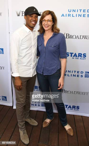 Corey Hawkins and Allison Janney backstage at United Airlines Presents #StarsInTheAlley free outdoor concert in Shubert Alley on 6/2/2017 in New York...