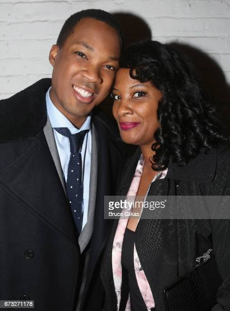 Corey Hawkins and his mother pose at the after party for Six Degrees of Separation on Broadway at Brasserie 8 1/2 on April 25 2017 in New York City