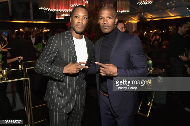 Corey Hawkins and Jamie Foxx attend the Netflix 2019 Golden Globes After Party on January 6 2019 in Los Angeles California