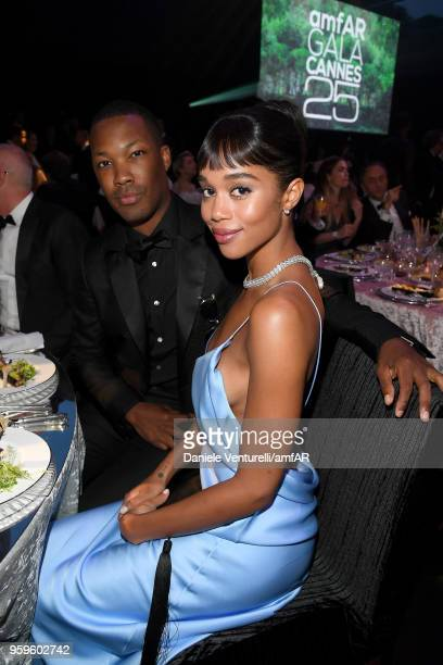 Corey Hawkins and Laura Harrier attend the amfAR Gala Cannes 2018 dinner at Hotel du CapEdenRoc on May 17 2018 in Cap d'Antibes France