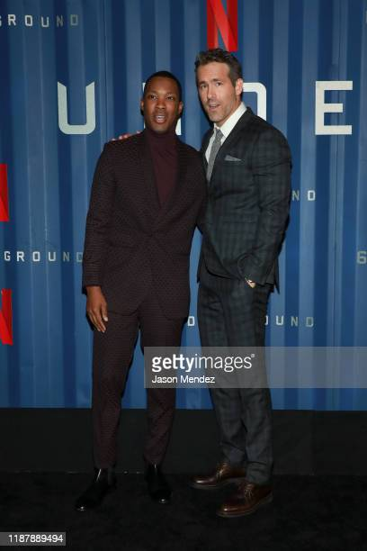 """Corey Hawkins and Ryan Reynolds attend Netflix's """"6 Underground"""" New York Premiere at The Shed on December 10, 2019 in New York City."""