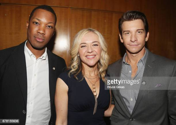 Corey Hawkins Rachel Bay Jones and Andy Karl pose at The 71st Annual Tony Awards Meet the Nominees Press Junket at Sofitel Hotel on May 3 2017 in New...