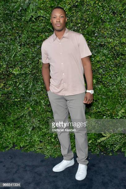 Corey Hawkins wearing Chanel attends Chanel Dinner Celebrating our Majestic Oceans A Benefit for NRDC at Private Residence on June 2 2018 in Malibu...