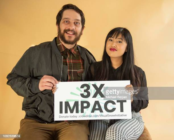 LIFORNIA JANUARY 10 Corey Huber and Nina Gosiengfiao pose with Visual Snow Initiative at Giveback Day at TAP The Artists Project on January 10 2019...