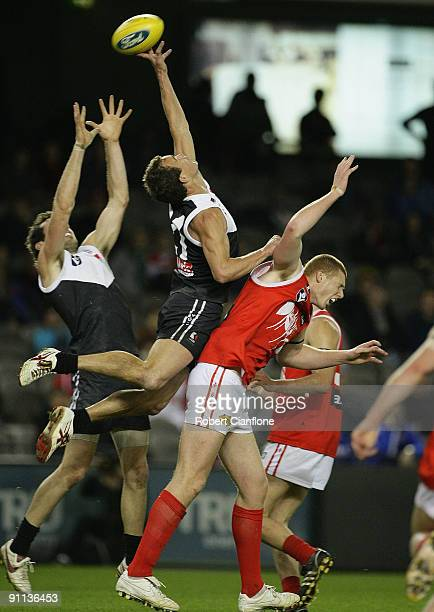 Corey Jones of North Ballarat flies for the ball during the VFL Grand Final match between the North Ballarat Roosters and the Northern Bullants at...