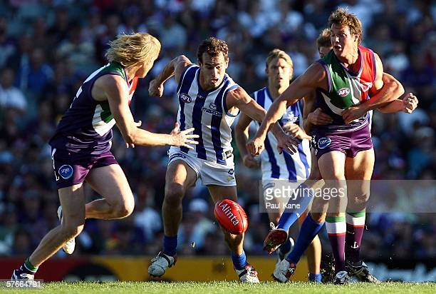 Corey Jones of the Kangaroos contests the ball during the round eight AFL match between the Fremantle Dockers and the Kangaroos at Subiaco Oval May...