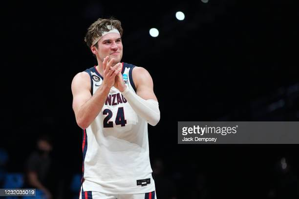 Corey Kispert of the Gonzaga Bulldogs celebrates a win against the USC Trojans in the Elite Eight round of the 2021 NCAA Division I Men's Basketball...