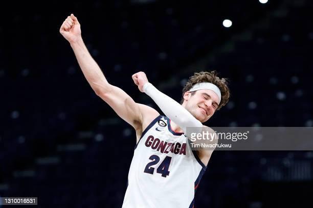 Corey Kispert of the Gonzaga Bulldogs celebrates defeating the USC Trojans 85-66 in the Elite Eight round game of the 2021 NCAA Men's Basketball...