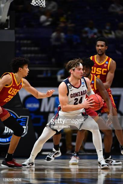 Corey Kispert of the Gonzaga Bulldogs looks to pass against the USC Trojans in the Elite Eight round of the 2021 NCAA Division I Men's Basketball...