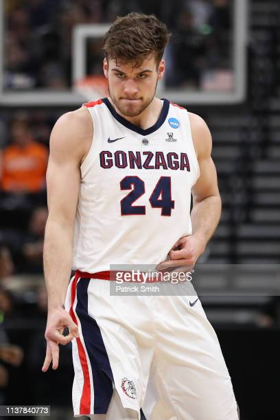 Corey Kispert of the Gonzaga Bulldogs reacts to a play against the Baylor Bears during their game in the Second Round of the NCAA Basketball...
