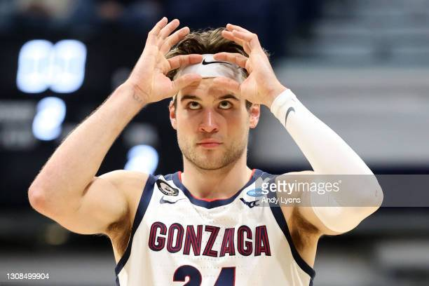 Corey Kispert of the Gonzaga Bulldogs reacts to beating the Oklahoma Sooners in the second round game of the 2021 NCAA Men's Basketball Tournament at...