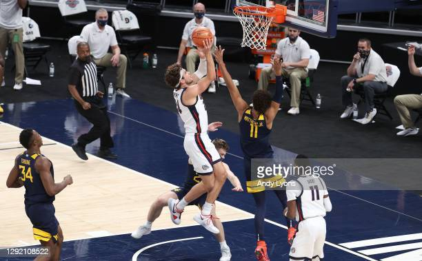 Corey Kispert of the Gonzaga Bulldogs shoots the ball against the West Virginia Mountaineers during the Jimmy V Classic at Bankers Life Fieldhouse on...