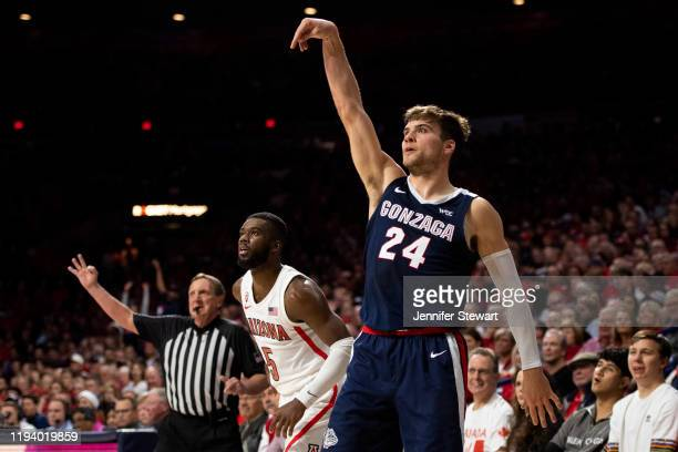 Corey Kispert of the Gonzaga Bulldogs shoots the ball in the second half against the Arizona Wildcats at McKale Center on December 14 2019 in Tucson...