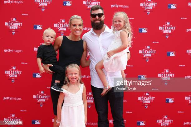 Corey Kluber of the Cleveland Indians and the American League and guests attend the 89th MLB AllStar Game presented by MasterCard red carpet at...