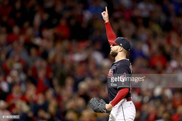 Corey Kluber of the Cleveland Indians gestures during the sixth inning against the Chicago Cubs in Game One of the 2016 World Series at Progressive...