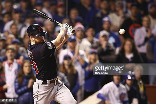 Corey Kluber of the Cleveland Indians hits a single in the second inning against the Chicago Cubs in Game Four of the 2016 World Series at Wrigley...