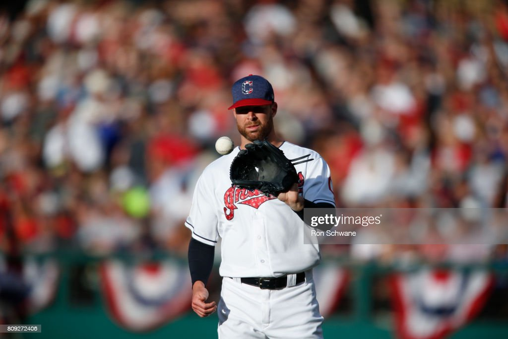 Corey Kluber #28 of the Cleveland Indians on the mound against the San Diego Padres during the second inning at Progressive Field on July 4, 2017 in Cleveland, Ohio.