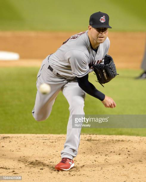 Corey Kluber of the Cleveland Indians pitches against the Chicago White Sox on September 24 2018 at Guaranteed Rate Field in Chicago Illinois The...