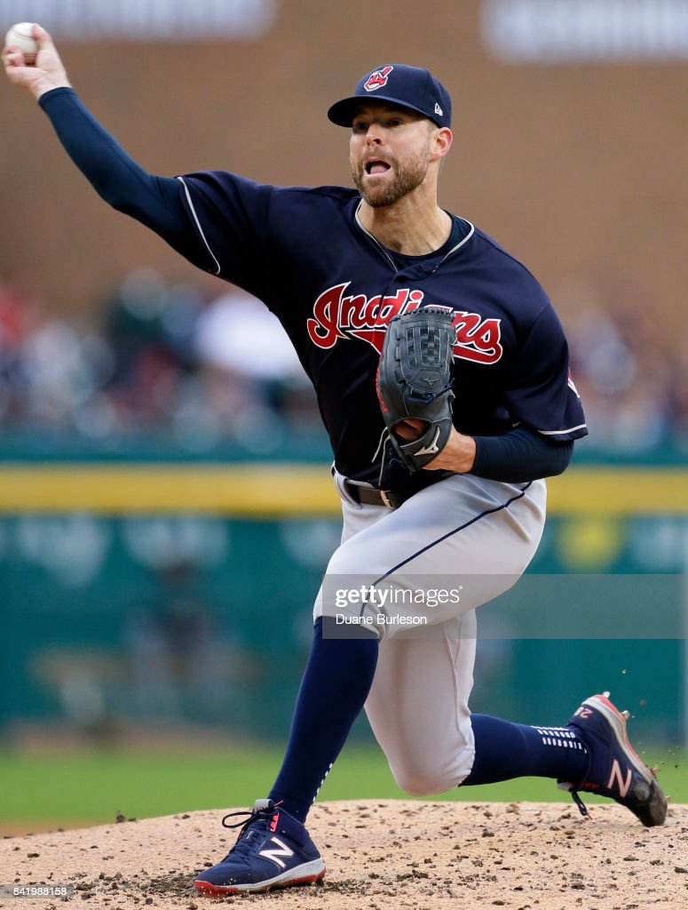 Corey Kluber #28 of the Cleveland Indians pitches against the Detroit Tigers during the second inning at Comerica Park on September 2, 2017 in Detroit, Michigan.