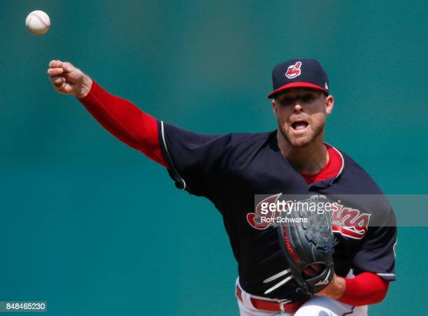 Corey Kluber of the Cleveland Indians pitches against the Kansas City Royals during the first inning at Progressive Field on September 17 2017 in...