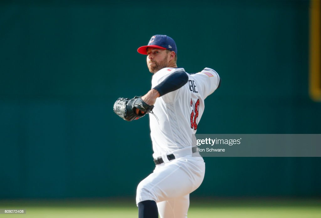 Corey Kluber #28 of the Cleveland Indians pitches against the San Diego Padres during the first inning at Progressive Field on July 4, 2017 in Cleveland, Ohio.