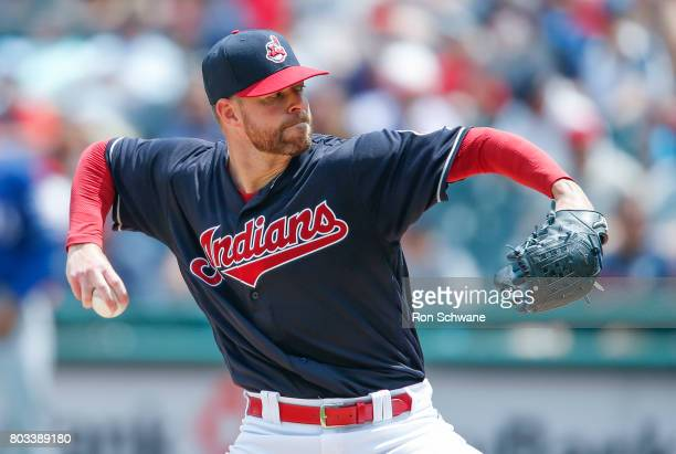 Corey Kluber of the Cleveland Indians pitches against the Texas Rangers during the second inning at Progressive Field on June 29 2017 in Cleveland...