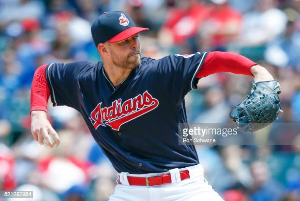 Corey Kluber of the Cleveland Indians pitches against the Toronto Blue Jays during the second inning at Progressive Field on July 23 2017 in...