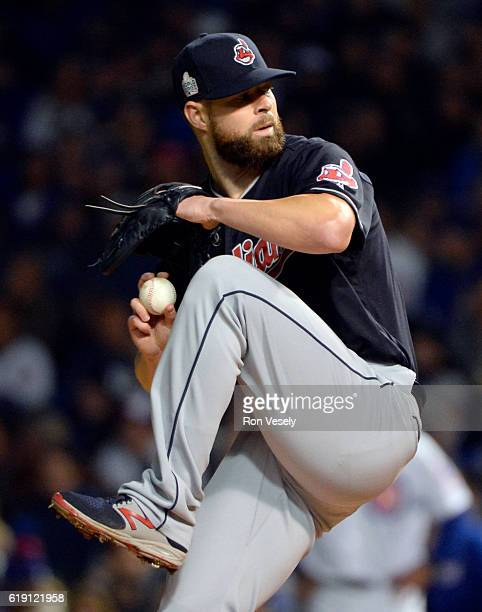 Corey Kluber of the Cleveland Indians pitches during Game 4 of the 2016 World Series against the Chicago Cubs at Wrigley Field on Saturday October 29...