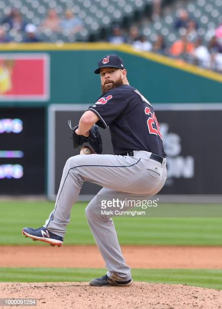 Corey Kluber of the Cleveland Indians pitches during the game against the Detroit Tigers at Comerica Park on June 10 2018 in Detroit Michigan The...