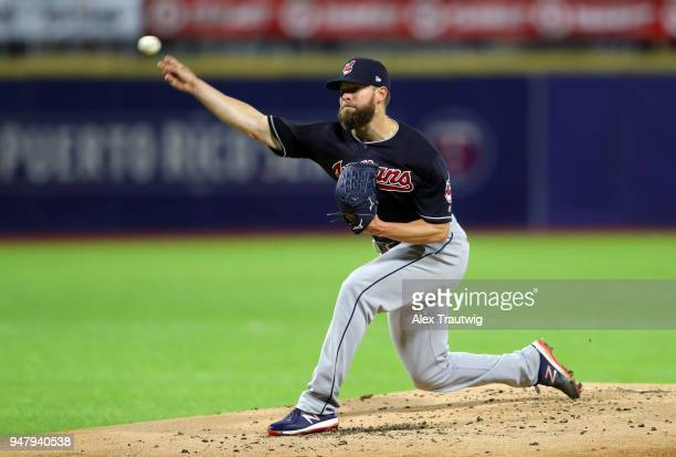 Corey Kluber of the Cleveland Indians pitches during the game against the Minnesota Twins at Hiram Bithorn Stadium on Tuesday April 17 2018 in San...