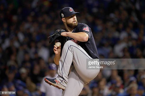 Corey Kluber of the Cleveland Indians pitches in the first inning against the Chicago Cubs in Game Four of the 2016 World Series at Wrigley Field on...