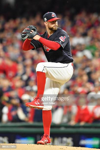 Corey Kluber of the Cleveland Indians pitches in the first inning against the New York Yankees in game five of the American League Divisional Series...