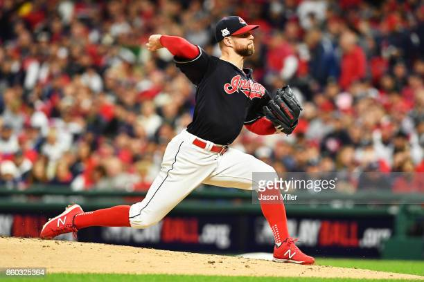 Corey Kluber of the Cleveland Indians pitches in the second inning against the New York Yankees in game five of the American League Divisional Series...
