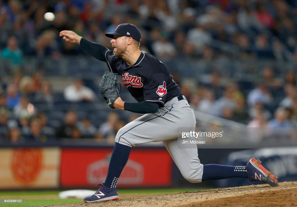 Corey Kluber #28 of the Cleveland Indians pitches in the seventh inning against the New York Yankees at Yankee Stadium on August 28, 2017 in the Bronx borough of New York City.